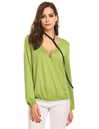 4d92bffc0dbf45 Zeagoo Women Deep V Neck Cross Front Surplice Wrap Pullover Shirt With  Bandage