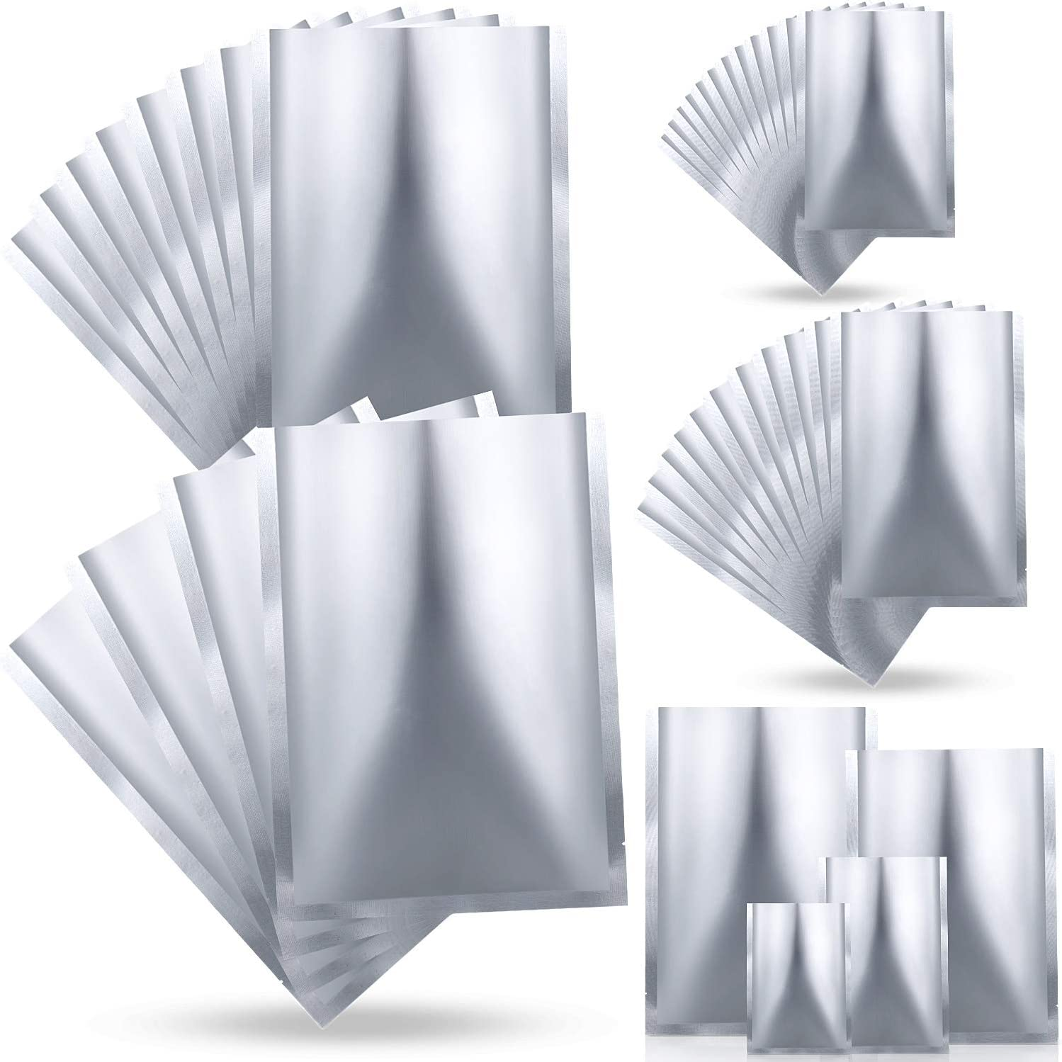 48 Pieces 4 Sizes Mylar Aluminum Foil Bags, Metallic Mylar Foil Flat Heat Sealable Bags Storage Bags Pouch for Food Coffee Tea Beans (6 x 9 inch, 8 x 12 inch, 12 x 17 inch, 14 x 20 inch)