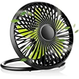 EASEHOLD 卓上扇風機 小型扇風機 ミニ扇風機 USB扇風機 冷風扇 風量2段階調節 超静音 角調節可能(ブラック)