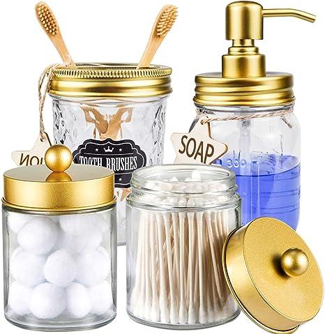 Amazon Com Capmesso Mason Jar Bathroom Accessories Set Bathroom Decor Gold Mason Jar Soap Dispenser 2 Apothecary Jars Toothbrush Holder Rustic Farmhouse Decor Bathroom Countertop Vanity Organize Gold Home