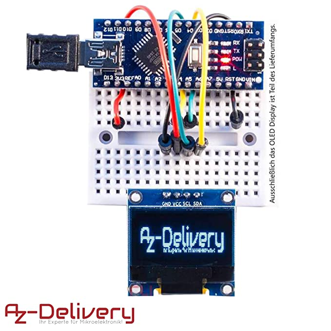 AZDelivery ⭐⭐⭐⭐⭐ 3 x Pantalla OLED Display I2C 128 x 64 píxeles 0.96 Pulgadas para Arduino y Raspberry Pi con ebook Gratis!