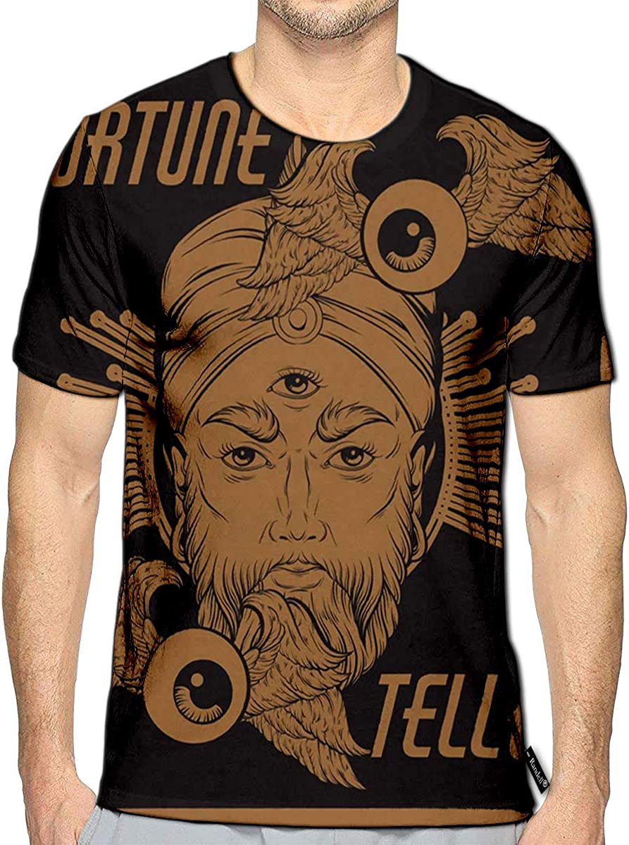 Randell 3D Printed T-Shirts Fortune Teller Flying Eyeballs Surreal Short Sleeve Tops Tee