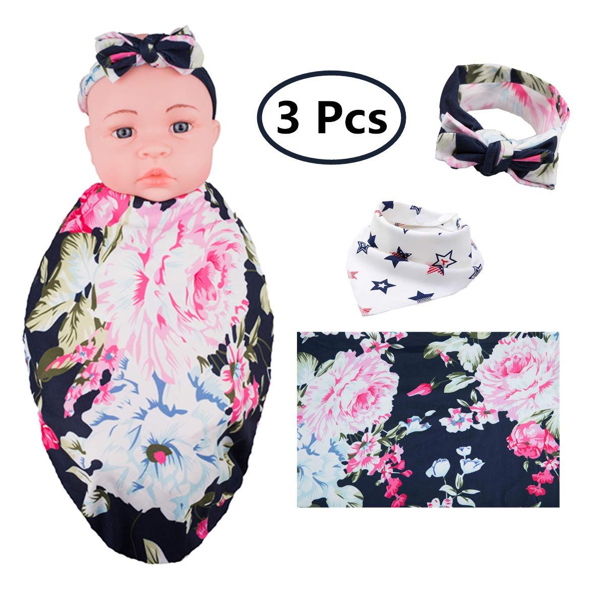 Receiving Blanket Headband Set, Newborn Baby Swaddle with Flower Print and Free Bib(Navy) KINGSOO