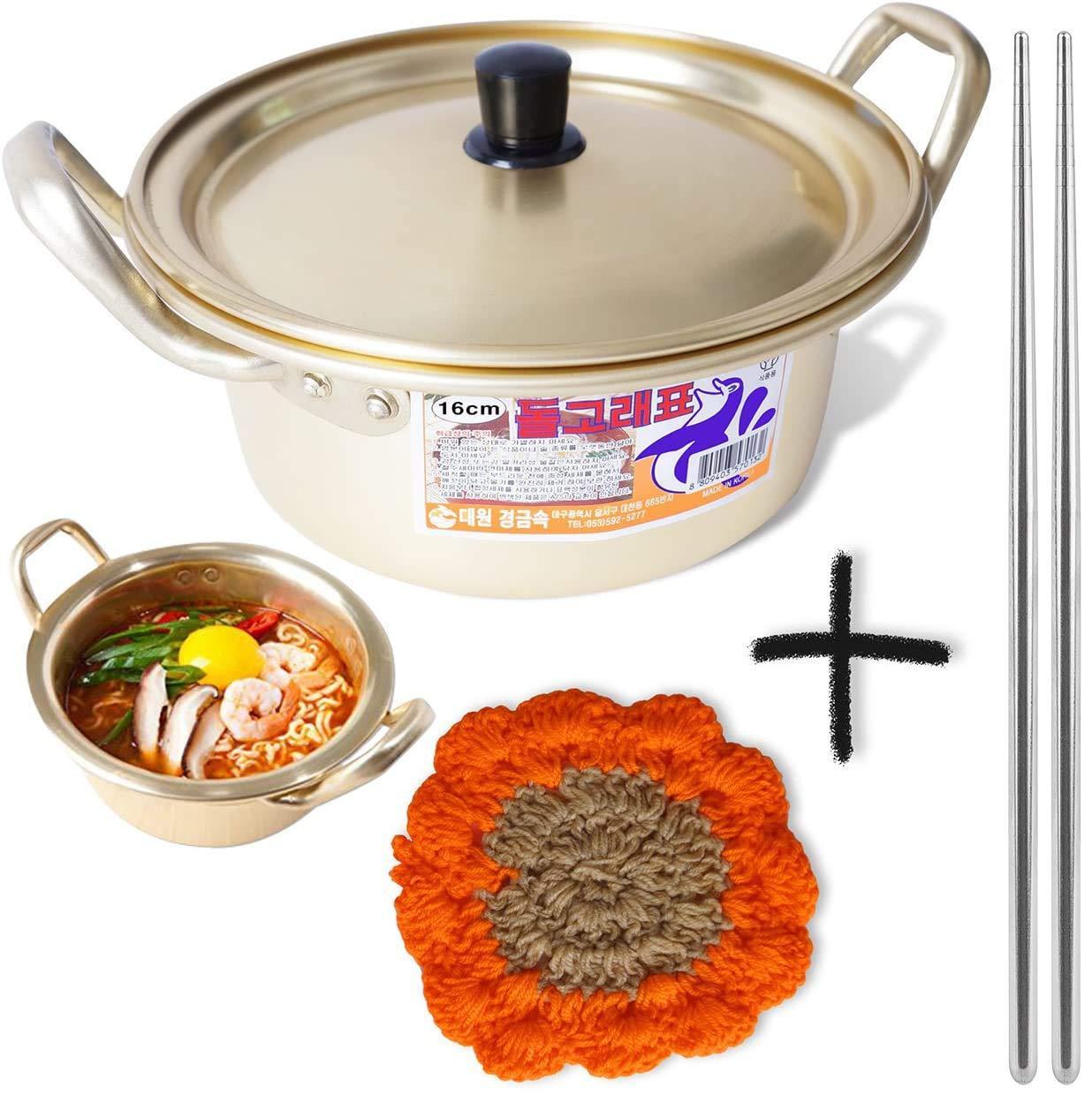 "Korean Ramen Noodle Pot 6.3""(16cm) + Chopstick (1 Pair) + Dish scrubber, Made in Korea (Standard version)"