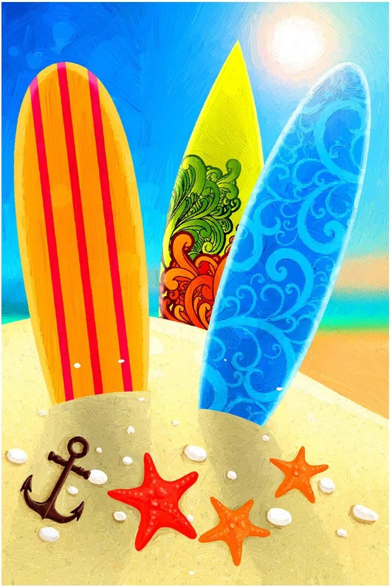 """Texupday Beach Surfboard Sunshine Double Sided Summer House Flag Relax On Vacation Outdoor Yard Flag 28"""" x 40"""""""