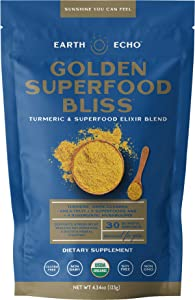 Earth Echo: Golden Superfood Bliss - Organic Turmeric, Ashwagandha and Ginger Powder Mix for Stress Relief, Immune Support, and Restful Sleep - 30 Servings - 12 Nourishing Ingredients Per Scoop