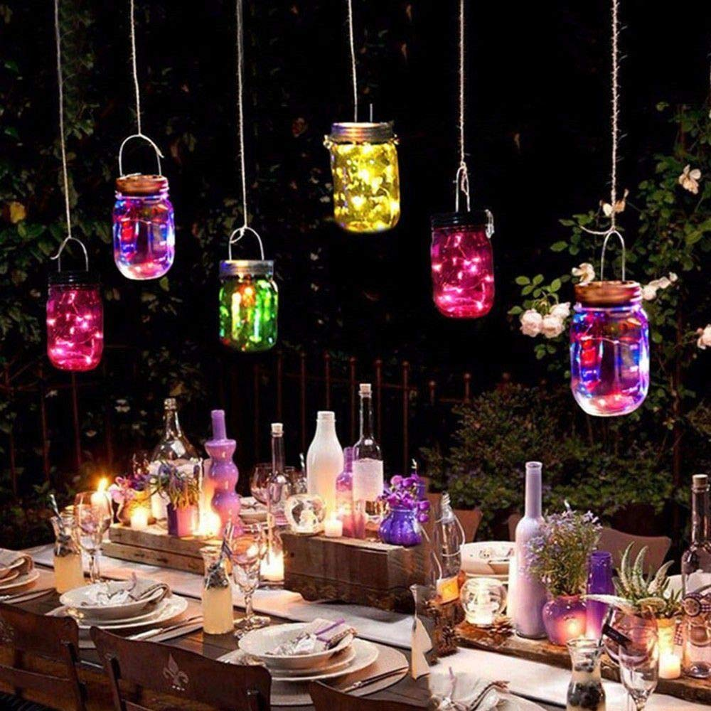 Toifucos Mason Jar Lanterne Solare Patio 2m 20 LED Lampade Fata Vetro Solare Mason Jar Appeso Lanterna Luce per Decorazione Esterna Giardino Mason Jar Includere 2 Pezzi Bianco Caldo