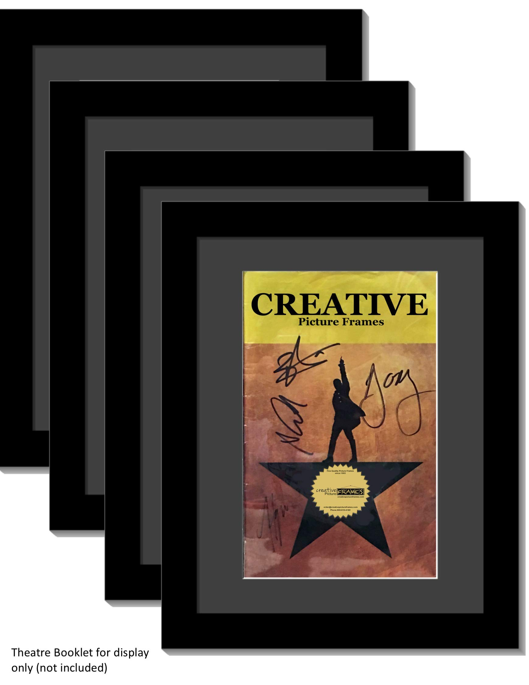 Creative Picture Frames [4pk8.5x11bk-b Black Theatre Frame with Black Matting to Holds 5.5x8.5-inch Media with Installed Hanger and Stand (Theatre Bill Not Included Pack of 4)