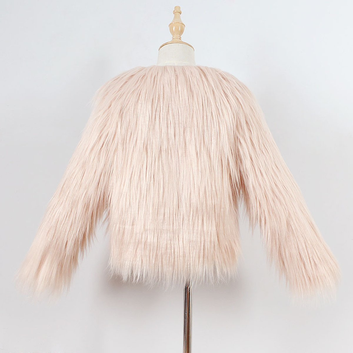 Girls Winter Round Neck Shaggy Faux Fur Coat Fuzzy Overcoat Jacket Outerwear for Little Kids