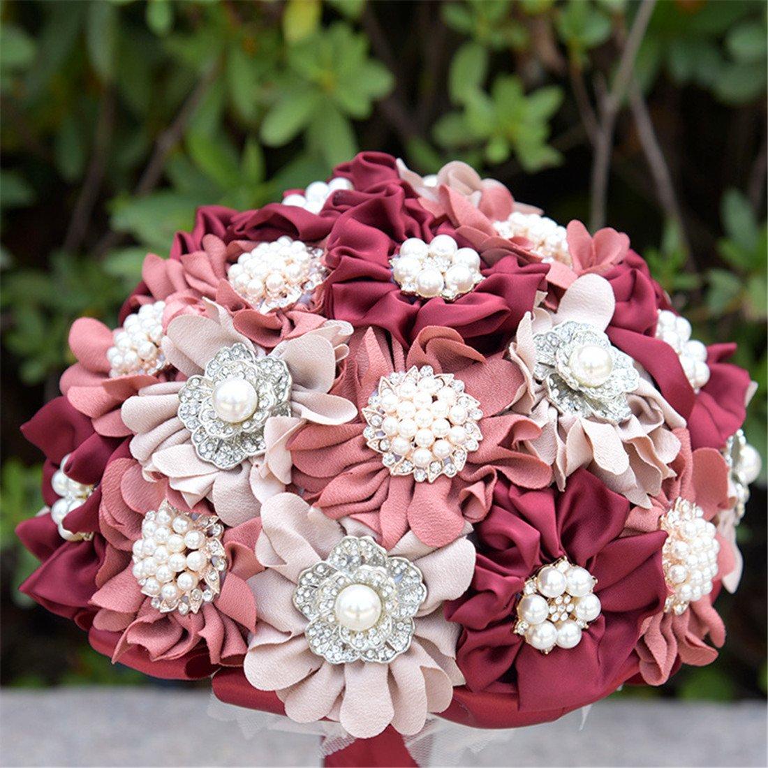 Amazon.com: FYSTORE Bride Bridesmaids Wedding Bouquet Crystal ...