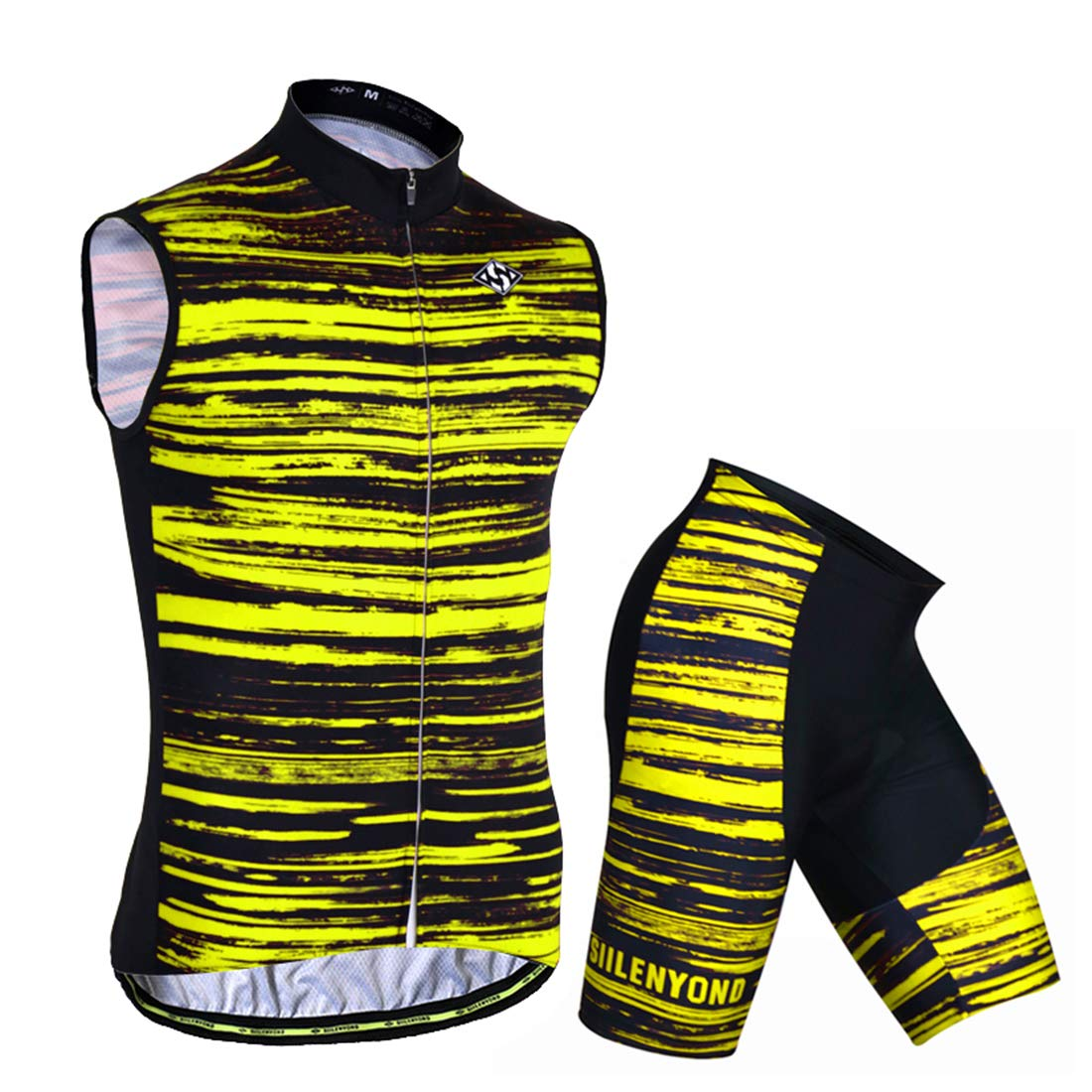 Alomoc Mens Fluorescent Stripes Cycling Jersey Biking Shirt Suit Short Pants with 3D Silicone Padded Co-Jerseys-TXSP0168