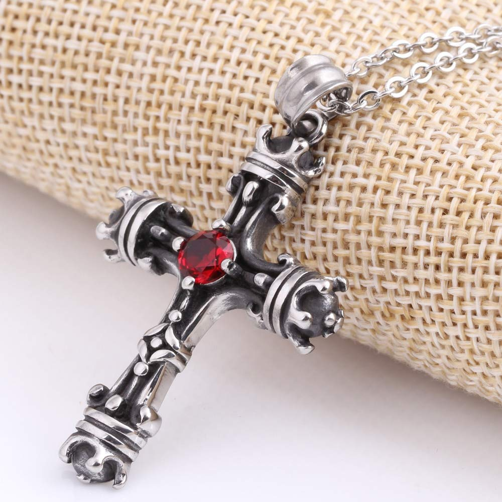 Davitu Vintage Crown Cross Pendants Necklaces Never Fade 316L Stainless Steel European Medieval Church Cross Punk Jewerly for Men Gift Metal Color: Silver