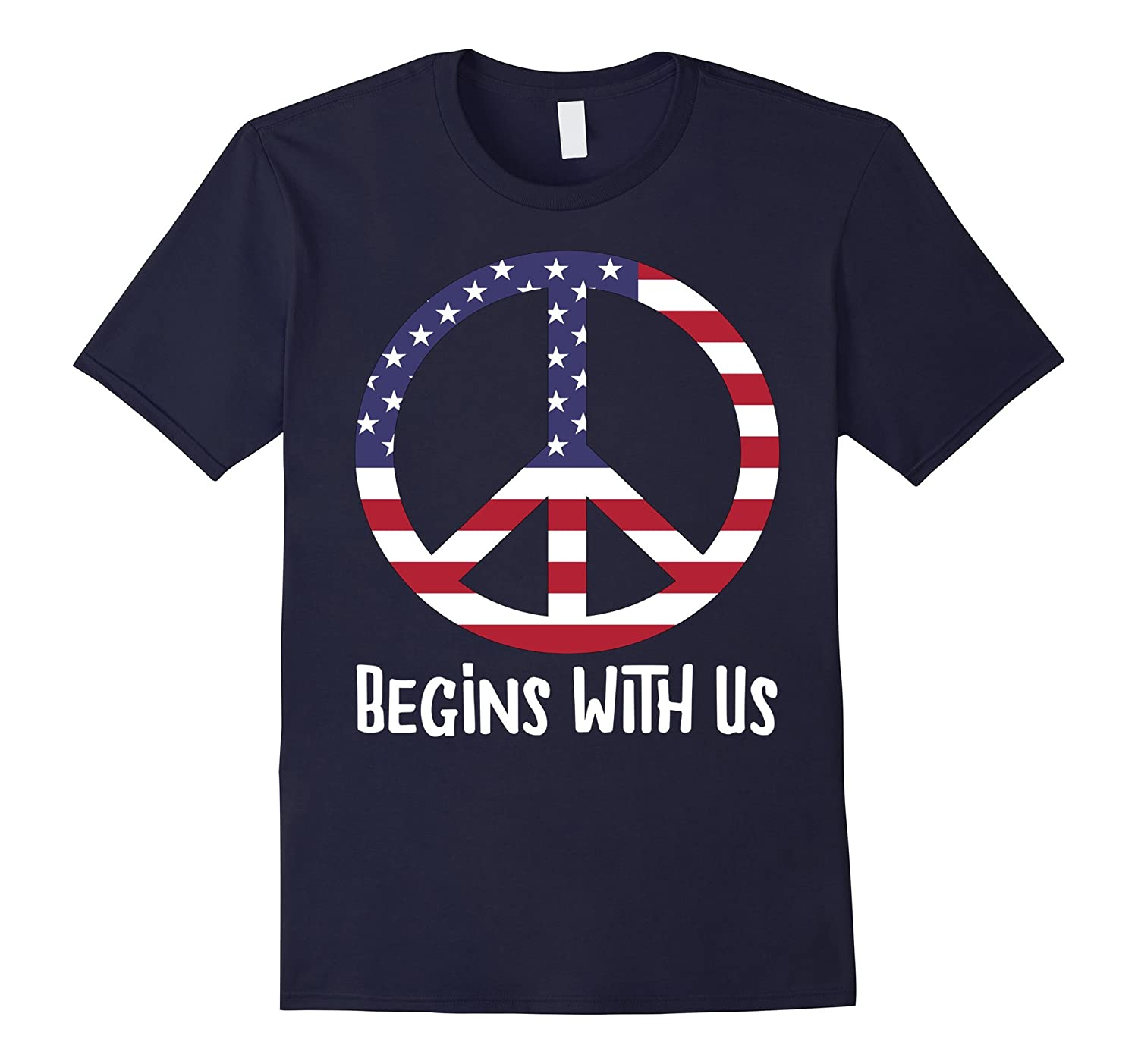 AM American Peace Sign: Peace Begins With Us Symbol T-Shirt-BN