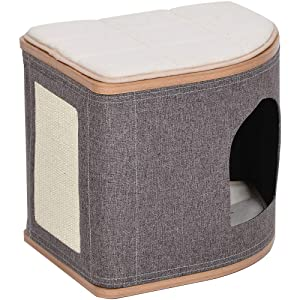 Catry Fan-Shaped Cat Condo Cat Bed with Laminated Wood and Jute Fiber Cat House for Any Size