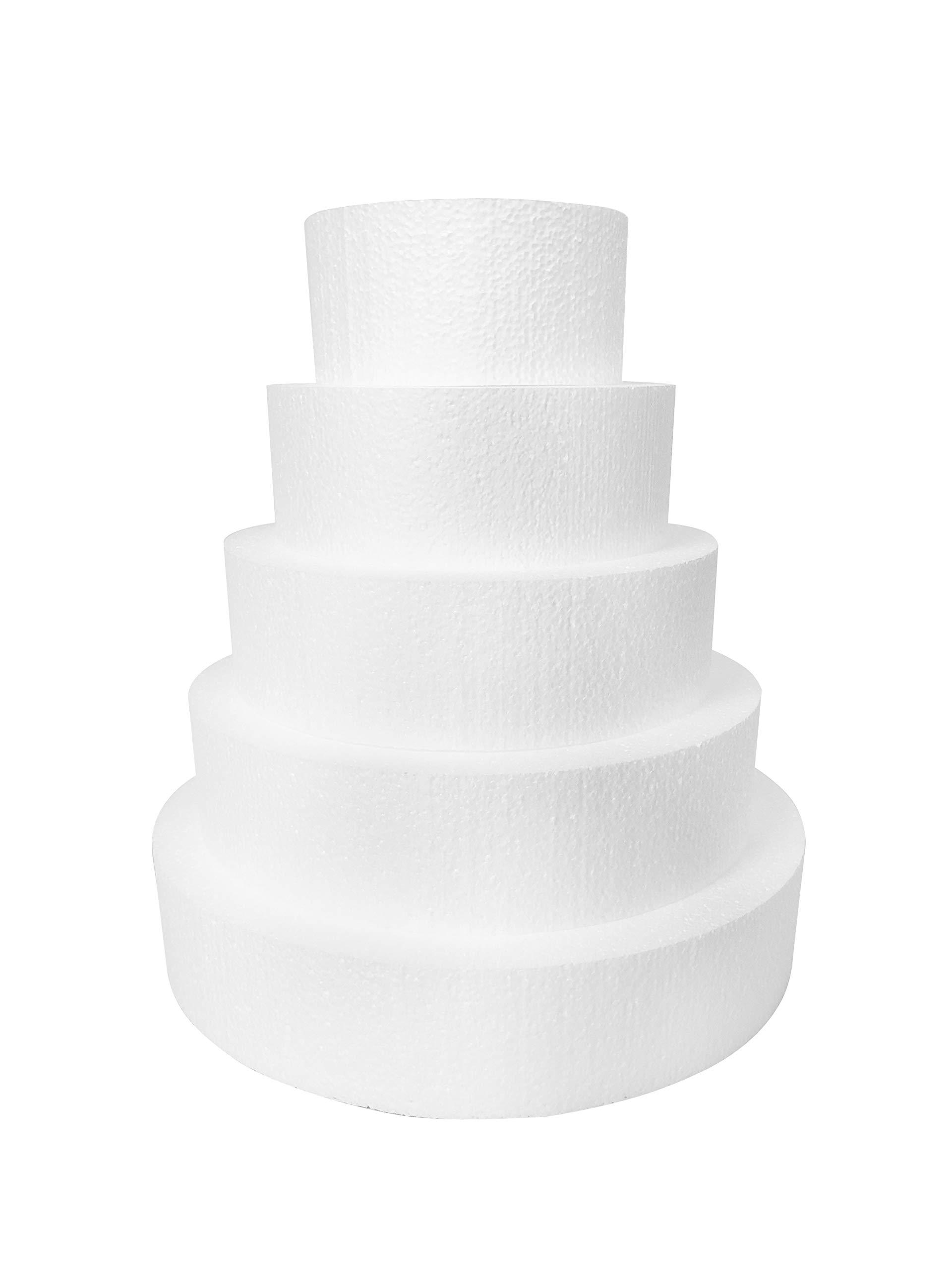 Round 3'' Cake Dummies - Set Of 5, Each 3'' High By 6'', 8'', 10'', 12'', 14'' Round