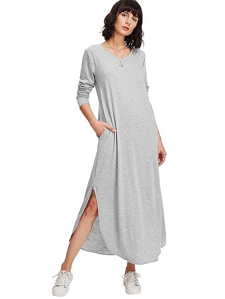 b66b049a41e MAKEMECHIC Women s Casual V Neck Pocket Long Dress Long Sleeve Split Maxi  Dress Grey S