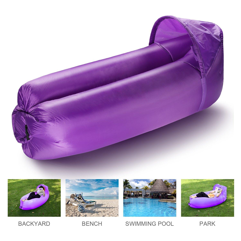 isYoung Sofá Hinchable, tumbona hinchable, sofa inflable portátil impermeable ligero Ultra resistente al agua y duradero para acampar, playa, parque, patio trasero, picnics o tumbona de viento interior (Púrpura)