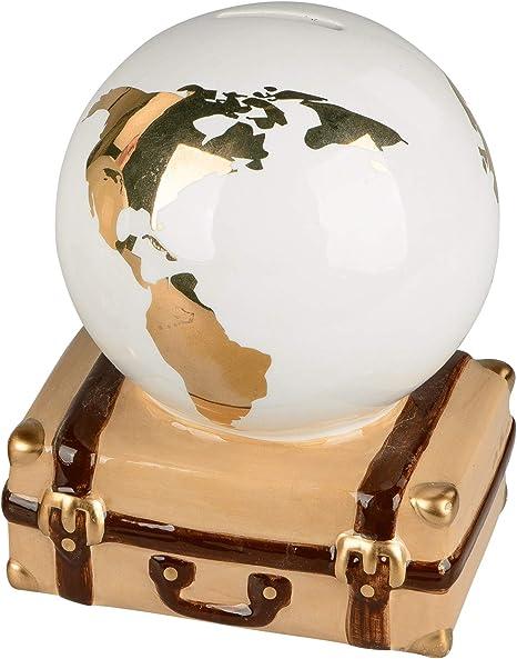 dekojohnson Hucha con Forma de Globo de Cerdito maletín, Hucha, Bola del Mundo, Caja de Viaje, Caja de Vacaciones, Oro, Blanco, marrón, 16 x 16 cm, Regalo de cumpleaños: Amazon.es: Hogar