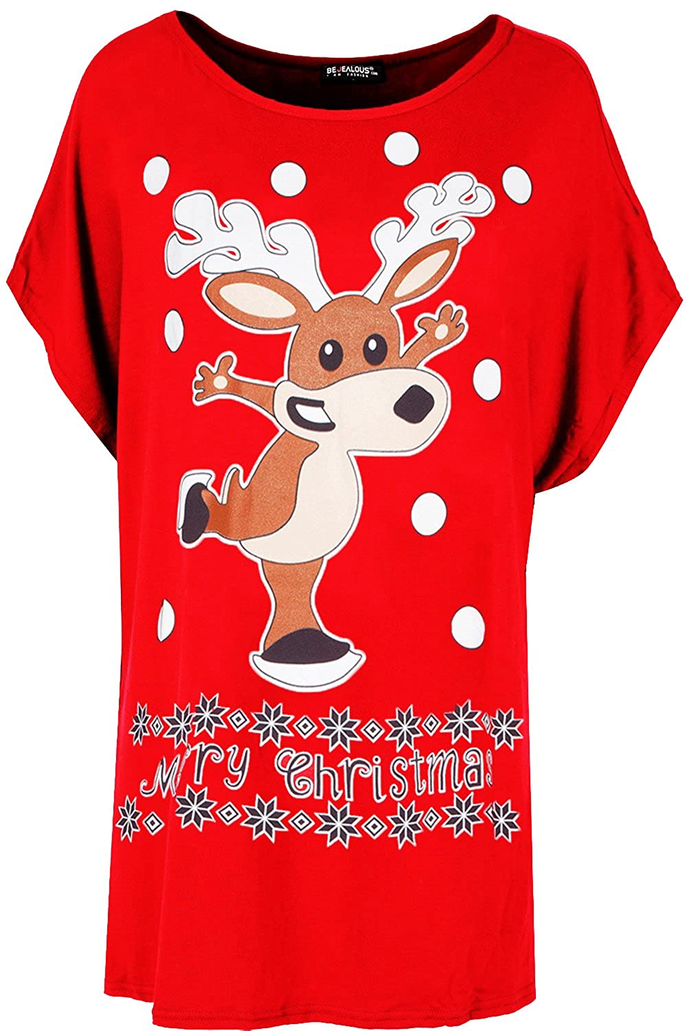 Fashion Star Womens Oversized Batwing Xmas Big Nose Reindeer Christmas Baggy T Shirt BE JEALOUS