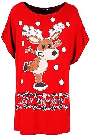 8e02e2400ee Be Jealous Womens Ladies Baggy Oversized Big Nose Reindeer Batwing Xmas  Christmas T Shirt UK Plus Size 8-22  Amazon.co.uk  Clothing