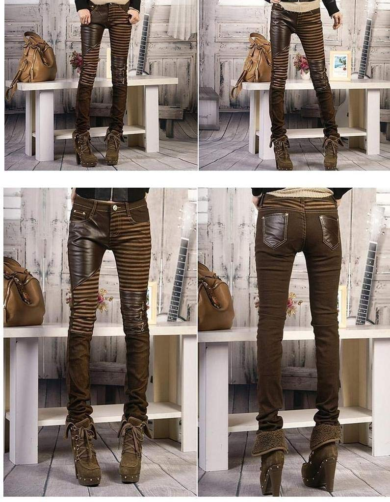 Color : Brown, Size : 26 YIGEYI Pu Leather Jeans for Women 2016 Fashion Casual Pants Feet Denim Jeans for Woman Pencil Pants The Perfect one for You