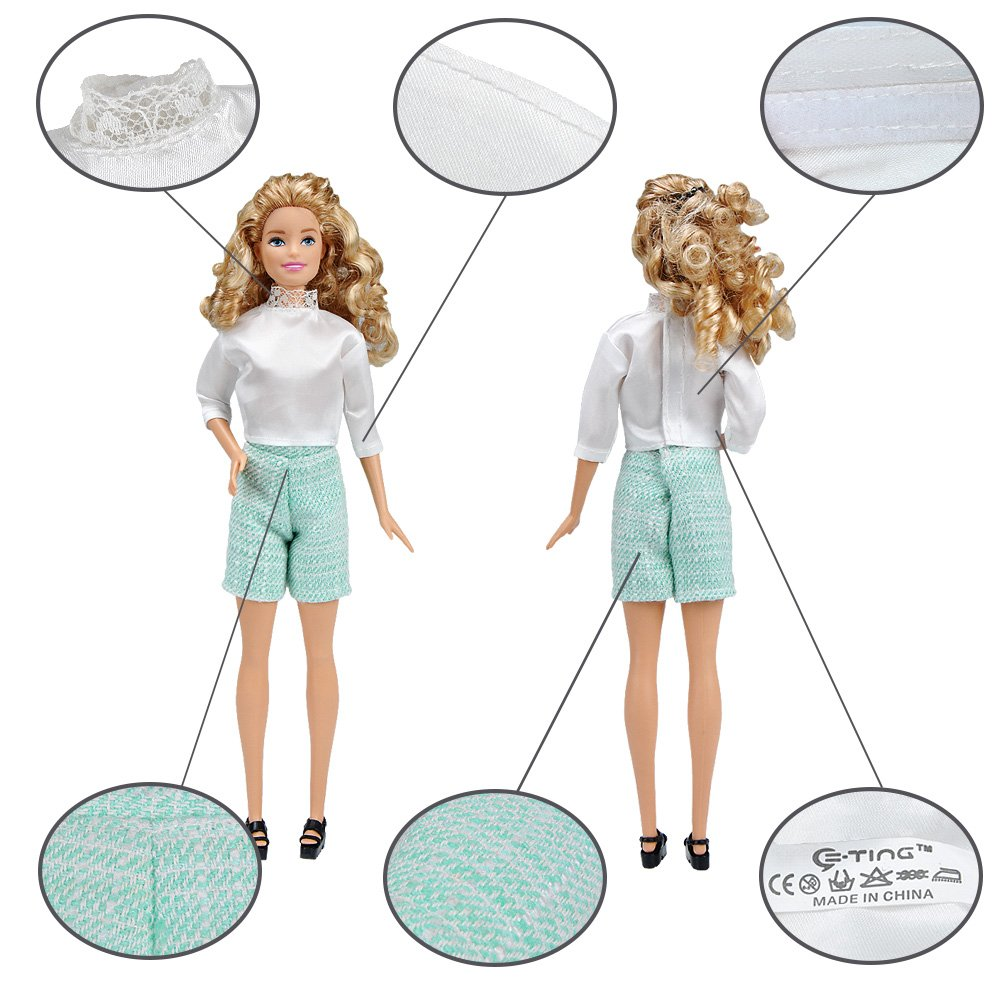 E-TING Lot 11 Items = Fashion Casual Outfit Suit Couple Clothing Accessories Shoes for Girl Boy Dolls