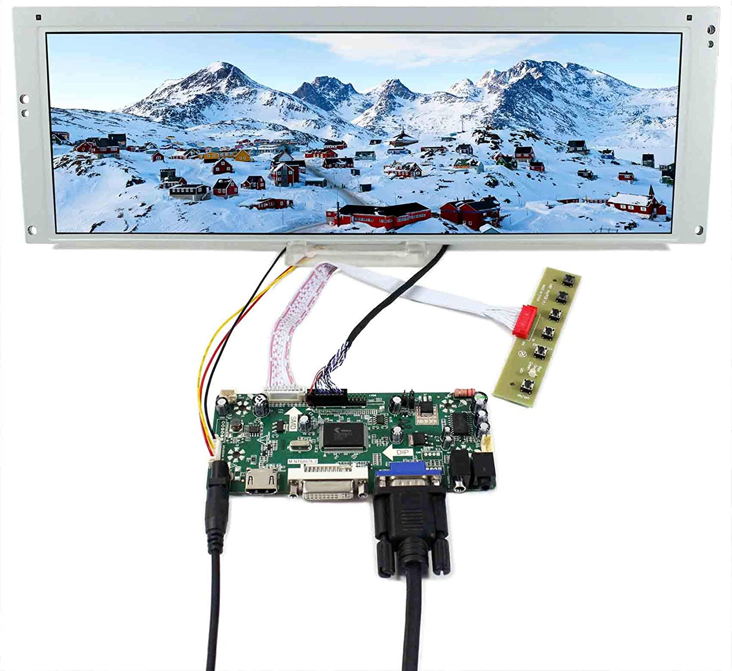 "VSDISPLAY 14.9"" 14.9 inch 1280X390 LCD Screen LTA149B780F with HDMI DVI VGA Audio LCD Controller Board M.NT68676, fit for Arcade Machines/DIY displays/Car Monitor/Digital Marquee/Gauge Cluster"