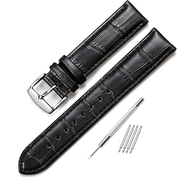 3b99cc9fc Amazon.com: iStrap 16mm Watch Band Leather Watch Strap Alligator Grain  Genuine Leather Replacement 12mm-18mm for Students for Men for Women:  Watches