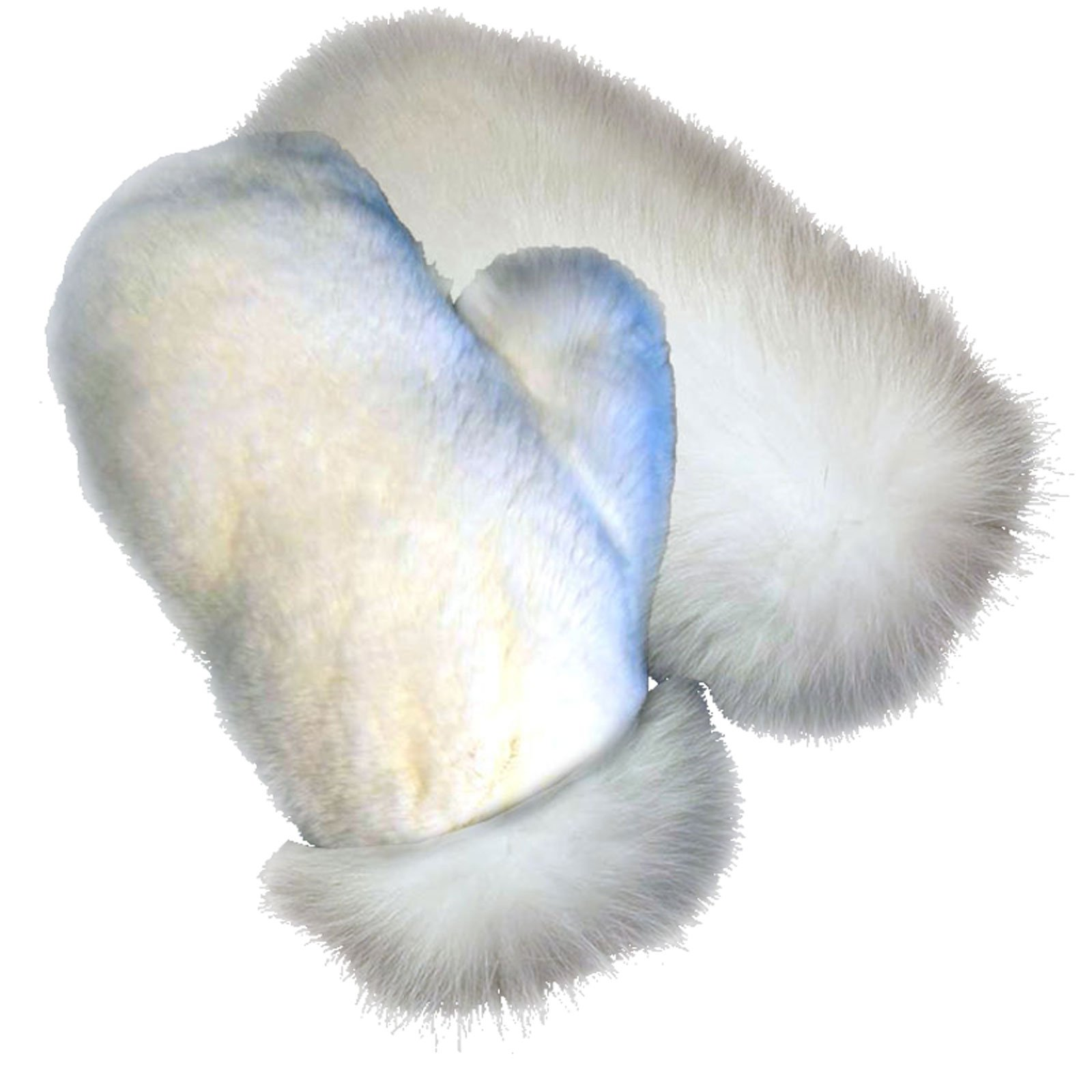 MinkgLove Full Fur Massage Glove, Mink and Rex Rabbit, Covered Inside and Outside, Textured Soft, White, Hand Tailored, Unisex, One Size - Four Sided All Fur