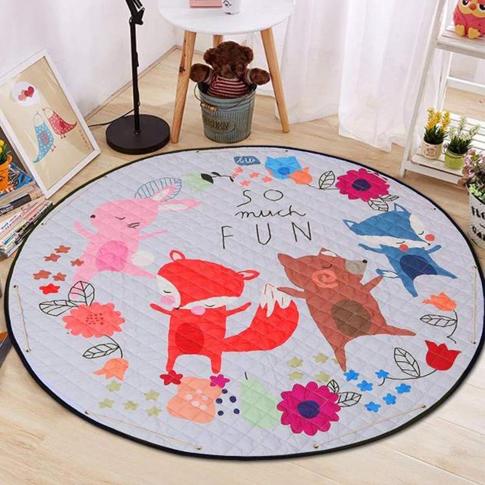 Round Baby Nursery RugTummy Time Carpet Kids Play Mat  Portable Toy Storage Bag