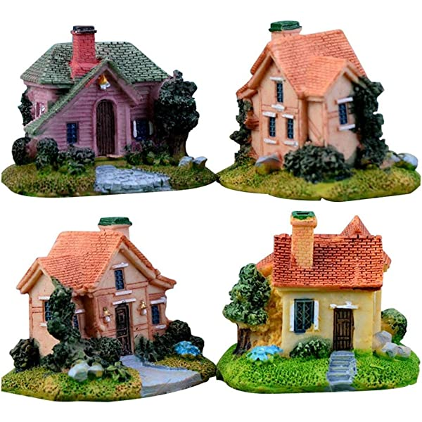 WINJEE,6Pcs//Set Thatched Resin Small House Creative Crafts Miniature Gardening Landscape Micro Village Stone Houses Garden Decor Shown