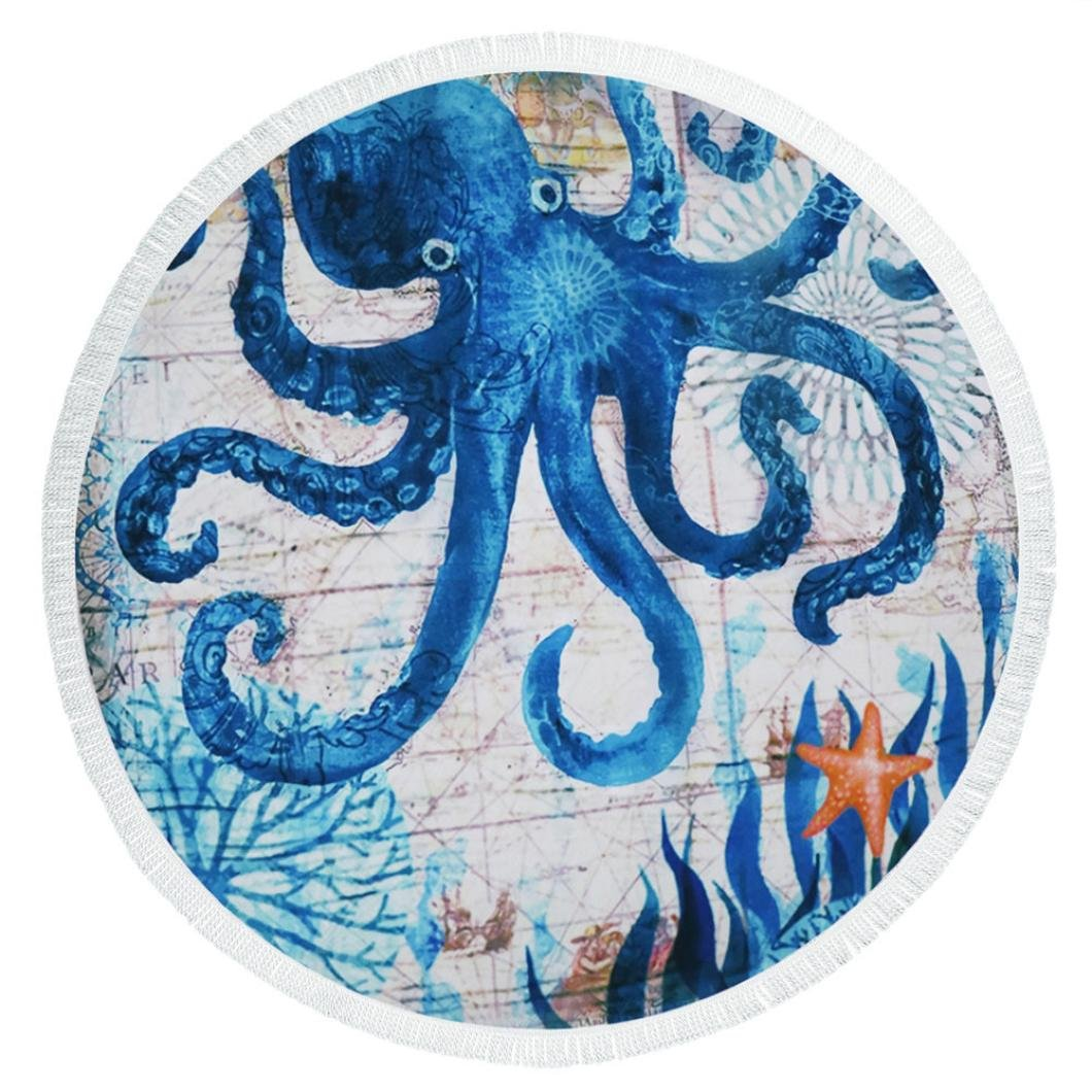 BCDshop Retro Round Beach Outdoor Blanket Octopus Marine Life Print Beach Cover Up Mat Boho Table Cloth Wall Tapestry 57.5''X57.5'' (A) by BCDshop