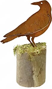 California Home and Garden CH526 Metal Large Crow Silhouette, 20 Inch Tall, Rustic Look Artwork, Brownish Red