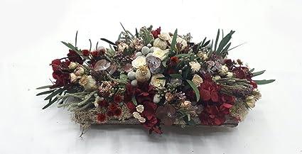 Bandeja de Madera de Rosas y Hortensias preservadas - Arreglo Floral Artesanal - Centro de mesa