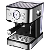 Espresso Machines 15 Bar Coffee Machine with Milk Frother Wand for Espresso, Cappuccino, Latte and Mocha, 1.5L large Removable Water Tank, Double Temperature Control System, Stainless Steel, 1100W