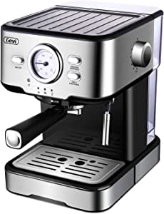 Espresso Machines 15 Bar Fast Heating Coffee Machine with Milk Frother Wand for Espresso, Cappuccino, Latte and Mocha, 1.5L Removable Water Tank, Double Temperature Control System, Sliver, 1350W
