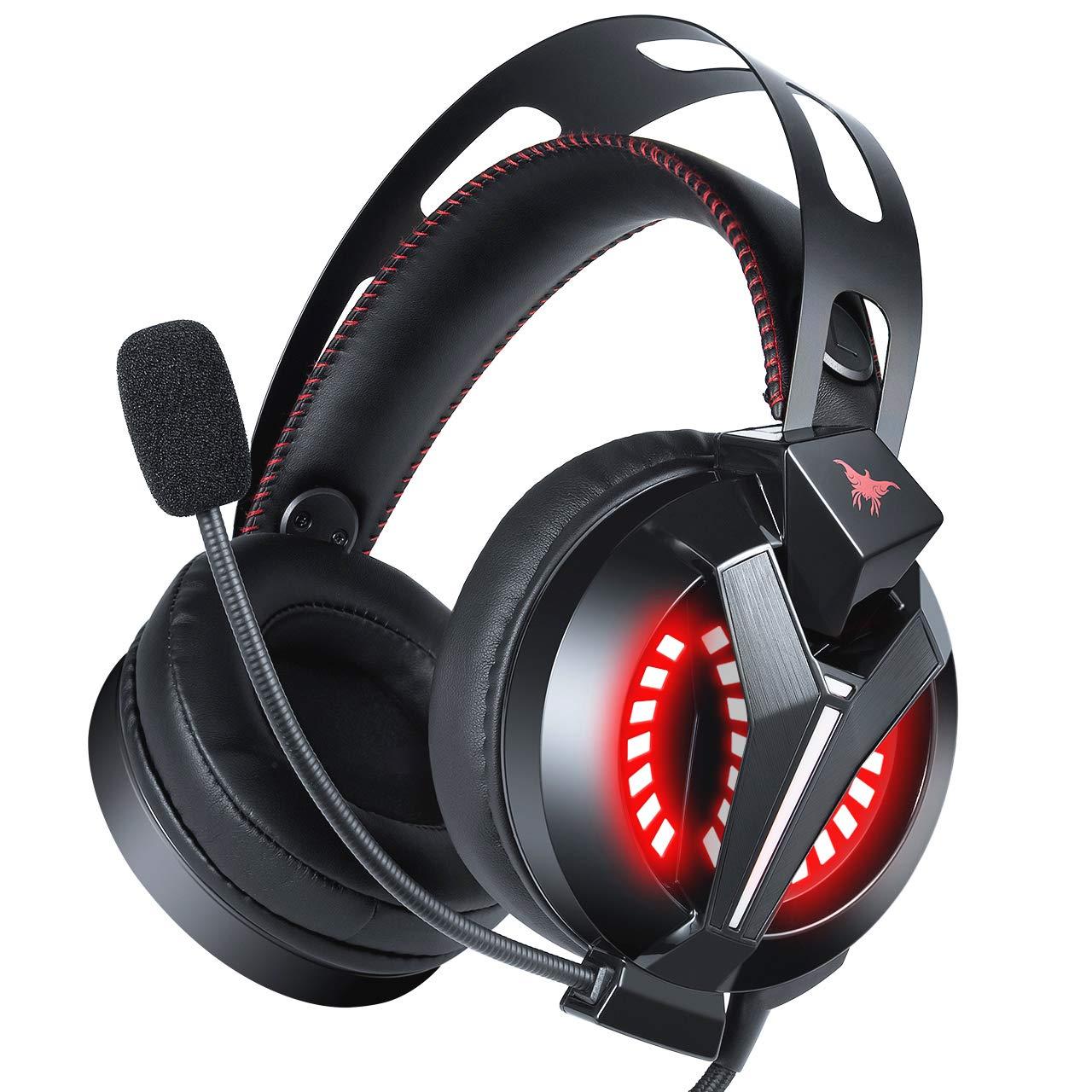 Auriculares Gaming para PS4 PC con Micró fono, Combatwing Gaming Headset Cascos de Diadema Cerrados con Reducció n de Sonido 3.5mm Jack con Luz LED Compatible con PC Xbox One, PS4 ,Mó vil Móvil
