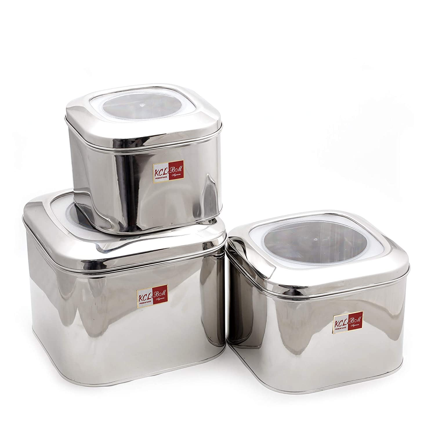 8126231ed84 Buy KCL Stainless Steel Cubic Tin with Unbreakable Lid for Dry Grains  Storage - Set of 3 - Capacity 7KG