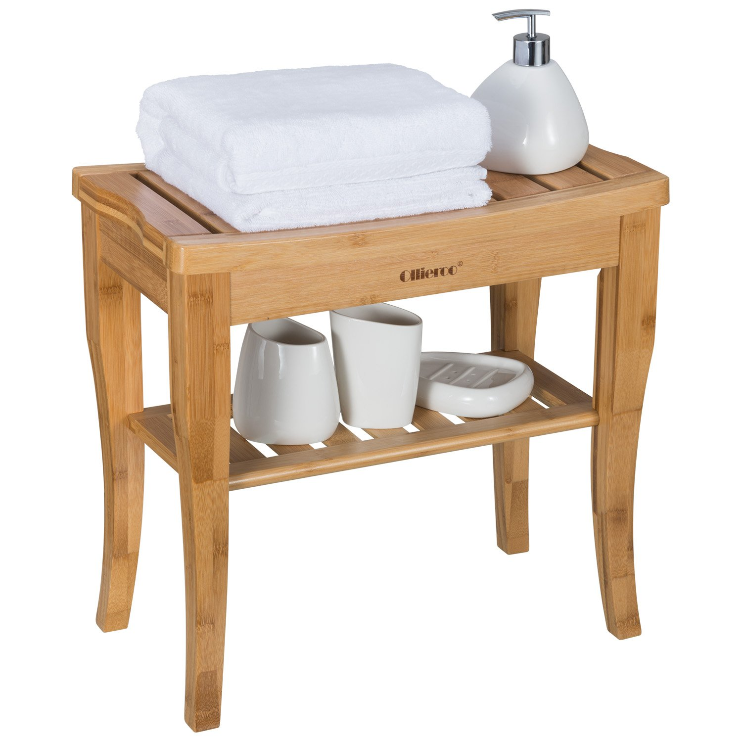Ollieroo Bamboo Shower Bench Seat Wooden Spa Bench Stool with Storage Shelf, Bath Seat Bench Stool Bath & Shower Transfer Benches by Ollieroo
