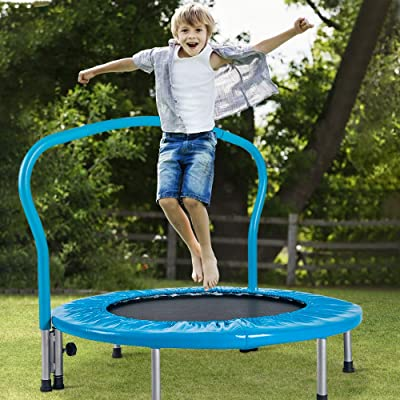Henf Round Rebounder Trampoline for Kids, Mini Jumping Cardio Trampoline with Padded Frame Cover and Handle, Portable Fitness Trampoline for Indoor/Garden/Workout, Blue : Sports & Outdoors