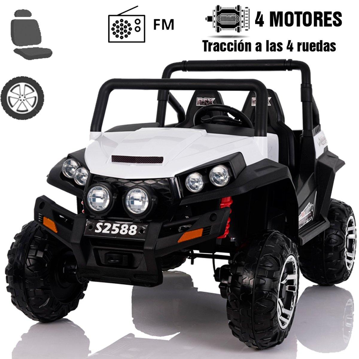 RIRICAR Elektro Spielzeugauto RSX Weiss - 2.4Ghz, 2 x 12V, 4 X Motor, Fernbedienung, 2-Sitze in Leder, Soft Eva Räder, FM Radio, Blautooth