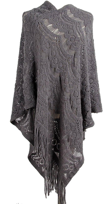 Women's Pullovers Sweater Lace Crochet Knit Poncho Cape Wrap Tassle Shawl Gray