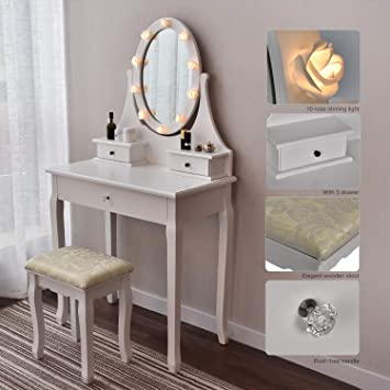 Makeup Vanity Table Set Mirror with LED Lights Dressing Table and Stool Set  with Drawers Removable Top Organizer Multi-Functional Writing Desk Padded  ...