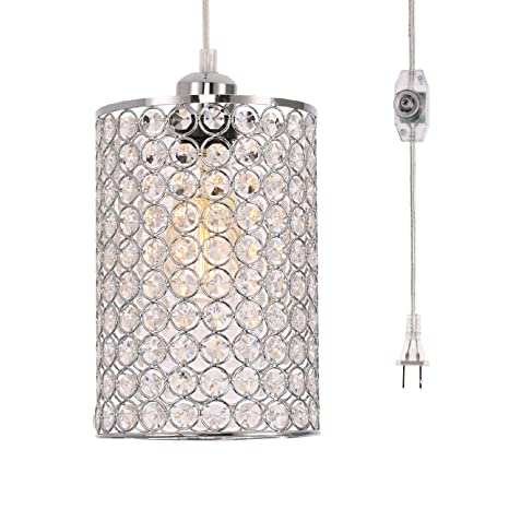 Kingmi Plug In Pendant Lights Dimmable Chandelier With On Off Dimmer Switch And 16 4 Handing Cord Chrome Cylinder Style For Bedroom Dining Room And