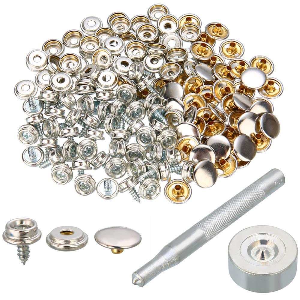 Snaps Kit for Boat Cover 120pcs Canvas Screws Snaps Buttons Tool Marine Grade Sewing Fastener with 2Pcs Setting Tool