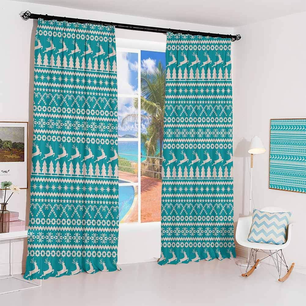 GUUVOR Nordic Hook up Curtain Christmas Elements Trees Stars Reindeers and Candy Canes Vintage Illustration for Bedroom Kindergarten Living Room W120 x L84 Inch Turquoise Cream