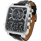 Soleasy Argus Panoptes - Men's Triple-Movement Square Dial Leather Band Quartz Analog Wrist Watch WTH1007