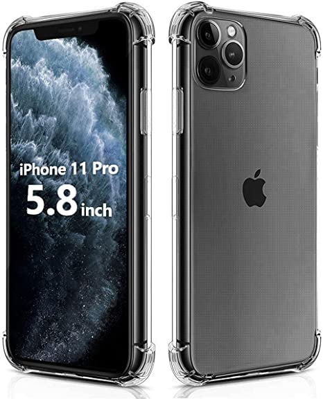 Crystal Clear Case with 4 Corners Shockproof Protection Soft Scratch-Resistant TPU Cover for iPhone 11 Pro Max 6.5 inch. BELONGME Compatible with iPhone 11 Pro Max Case 2019