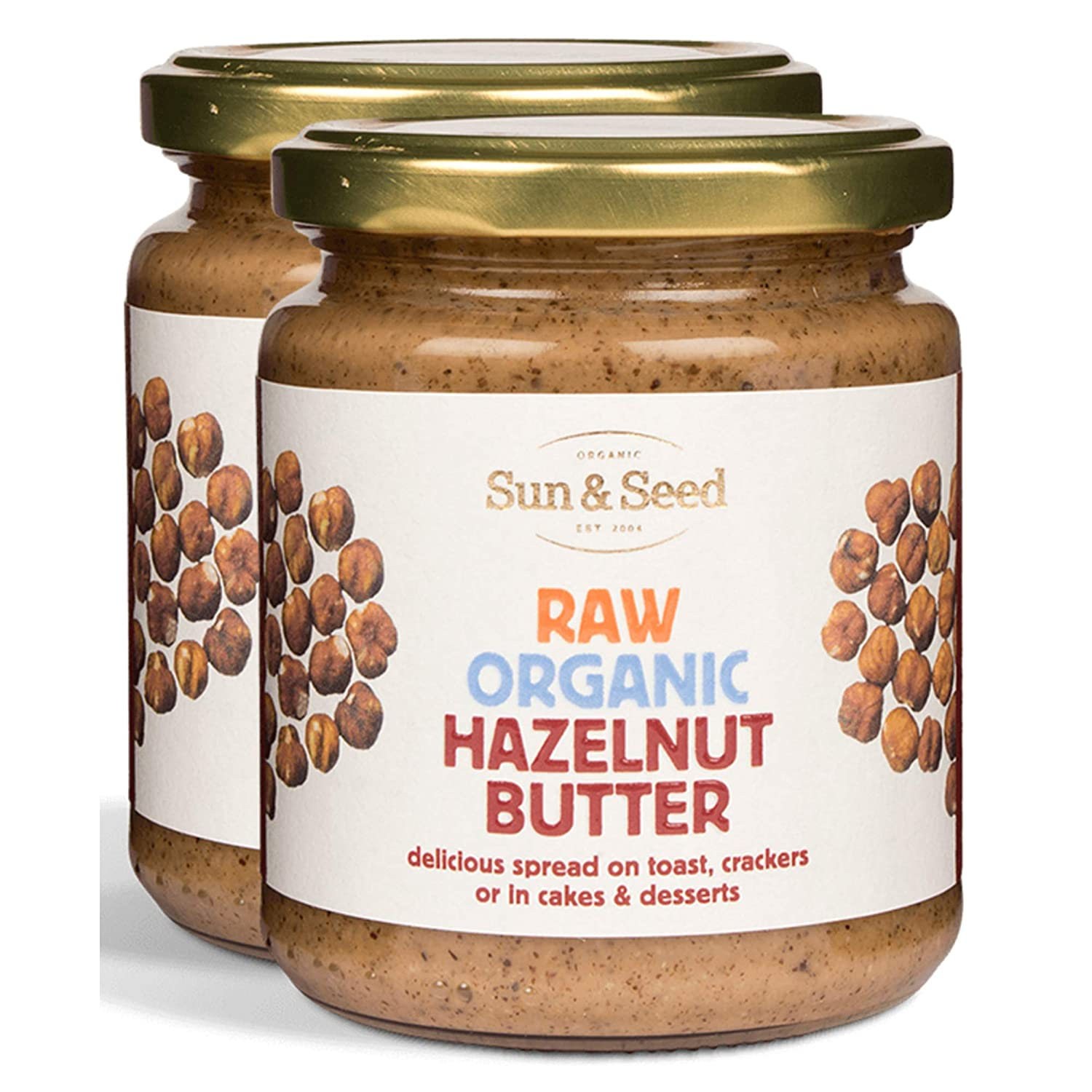 Sun and Seed – Organic Raw Hazelnut Butter – Gluten Free and Keto Friendly – Ultra Healthy And Nutritious High Protein Spread – Rich in Folate and B-complex Vitamins - 250g (Hazelnut, 2 Pack)