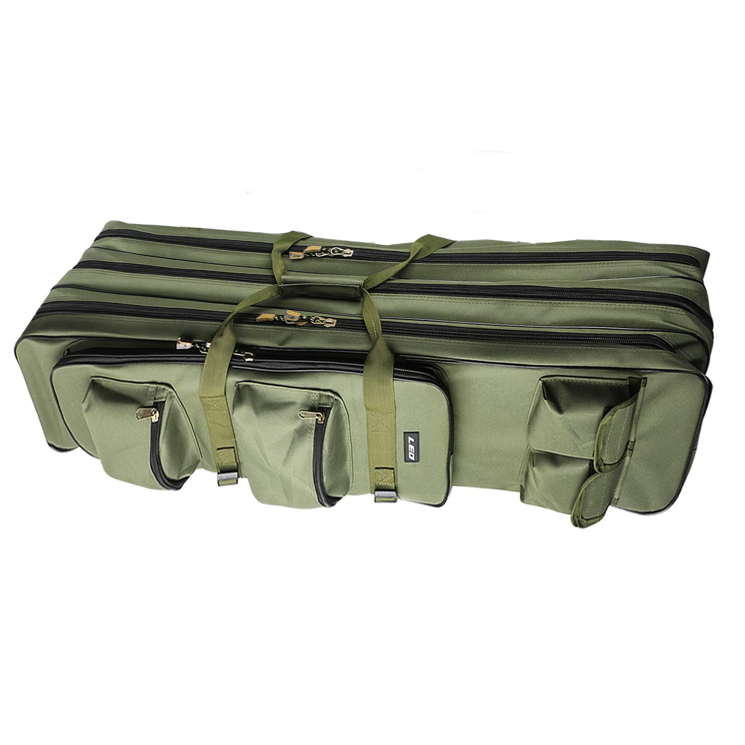 Fishing Rod Carrier Bag 31.5/39.4Inch Portable Waterproof Canvas Fishing Pole Reel Case Storage Bag Large Capacity Triple Layer Travel Carry Case Holder Fishing Gear Organizer (100cm/39.4inch)
